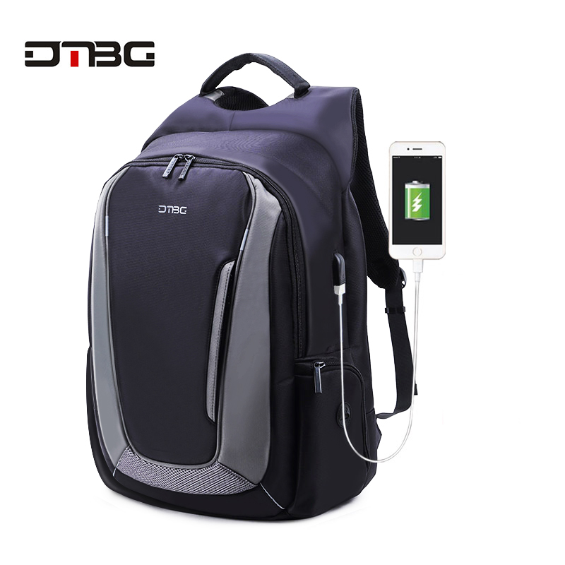 DTBG 17.3 Inch Black Nylon Anti theft Laptop Backpack with