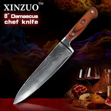 XINZUO 8″ chef knives high quality fashion Japanese VG10 Damascus steel kitchen knife with color wood handle sharp Free shipping
