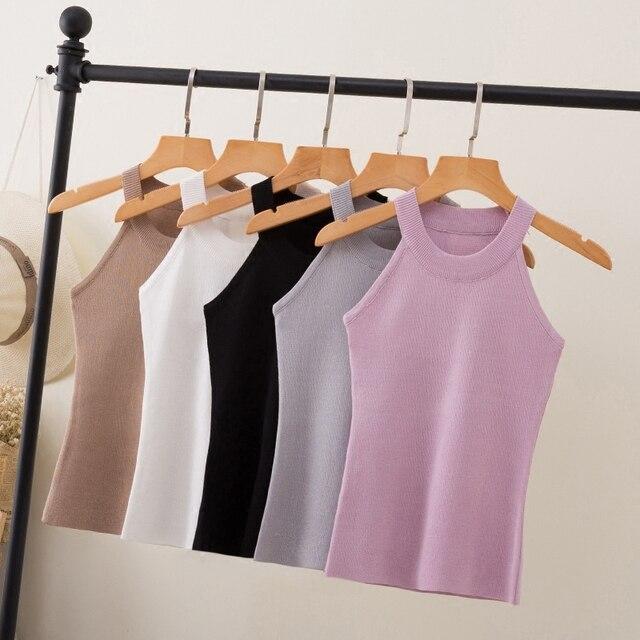 קיץ נשים Slim סריגה הלטר חולצה חולצות נקבה Bodycon סרוג טנקי שרוולים בסיסי מוצק T חולצות 8017