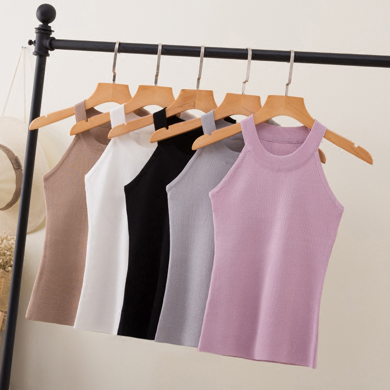 Summer Wanita Slim Knitting Halter Camisole Tops Female Bodycon Knitted Tanks tanpa lengan T-shirt Pepejal Asas 8017