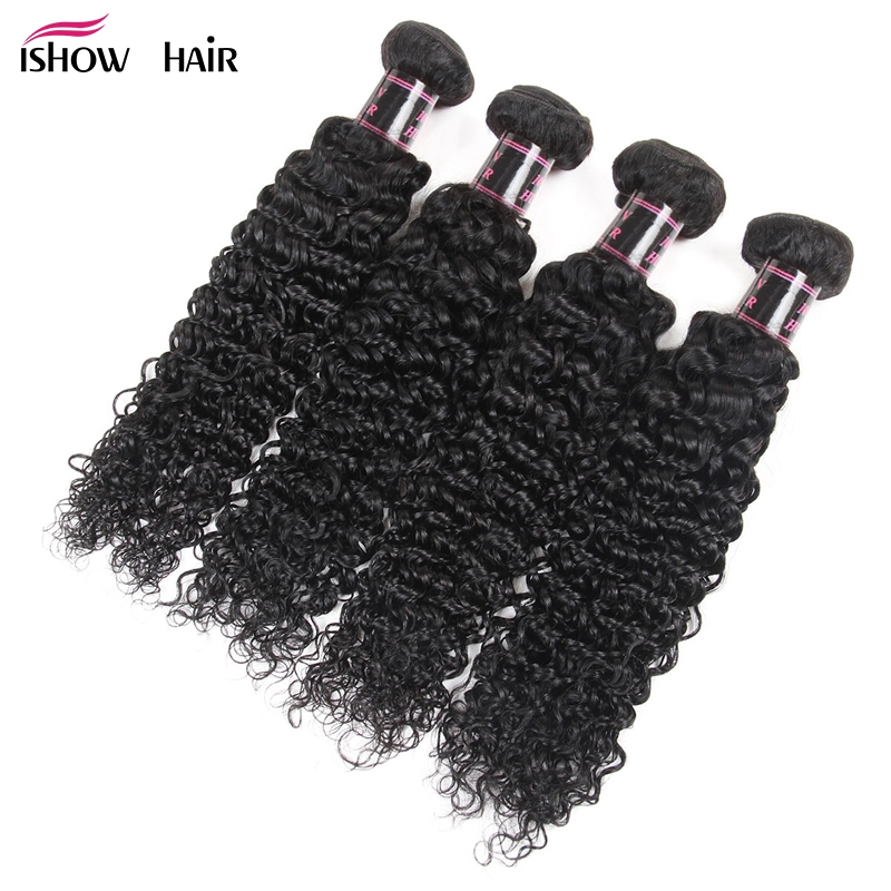 Ishow Hair 4 Bundles Peruvian Kinky Curly Weaving Hair Natural Color Human Hair Weave Bundles Deal