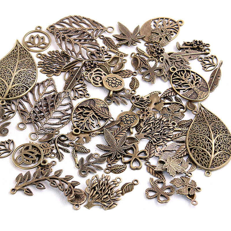 20pcs Vintage Metal Mix Size/Style Leaf Flower Charms Plant Pendant for Jewelry Making Diy Handmade Jewelry(China)