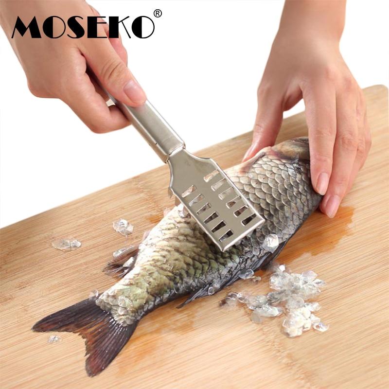 MOSEKO 1vnt nerūdijančio plieno žuvų odos šepetys Greitai pašalinami žuvų skalės šepetėliai Pašalinti žuvų valymo skiediklio skalerį
