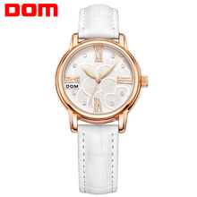 DOM Women Watches Brand Luxury Fashion Casual Ladies Wristwatches Leather Waterproof Quartz lady watch Stylish Relogio Feminino women quartz watches tungsten steel ladies watch dom luxury brand wristwatches waterproof calendar diamond woman clocks