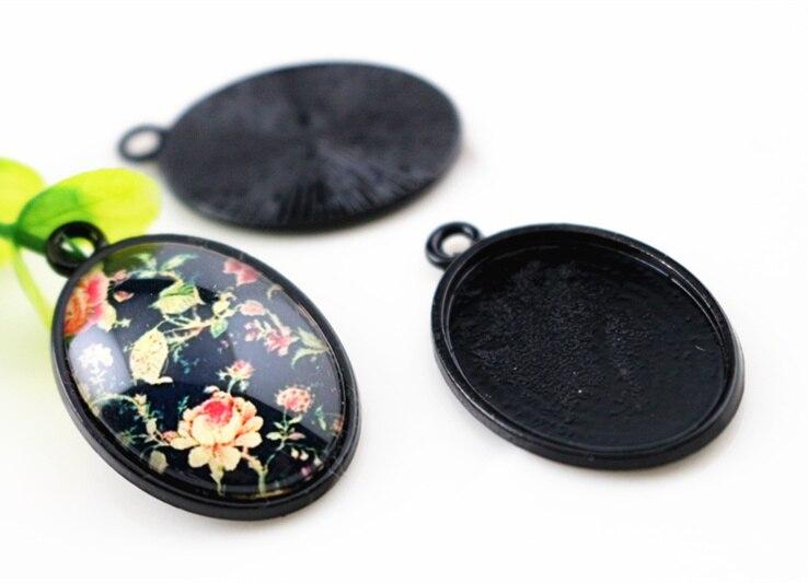 10 Stücke 18x25mm Innere Größe Schwarz überzogene Einfache Cameo Cabochon Einstellung Charms Anhänger (c1-11) Mit Traditionellen Methoden