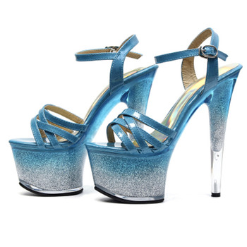 Pure blue seduction rivets decorated with buckle super high heels, 15cm heels sandals, stage show women's dancing shoes