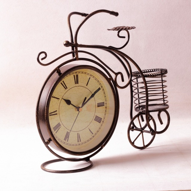 Retro Bicycle Clock Metal Desk Watch Table Vintage Home Decor Decorations Living Room
