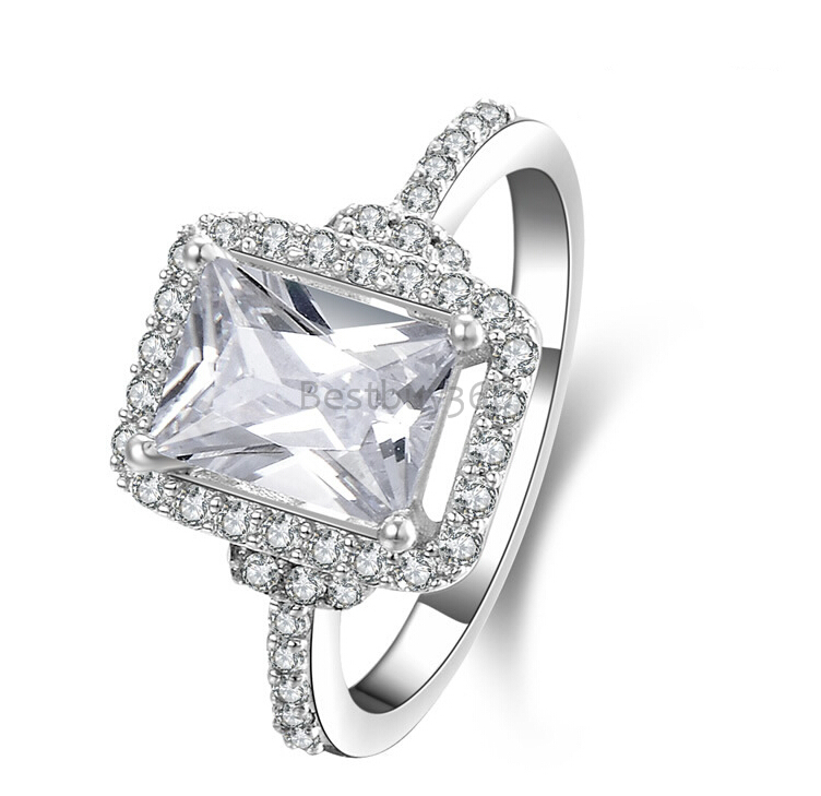 2 carat female 925 sterling silver ring brilliant SONA synthetic diamond engagement ring US size from 4 to 10.5 (NM)