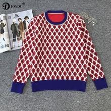 JOYDU Runway Pullover 2018 Spring Preppy Stylish Knit Tops Leaves Jacquard Luxury Chic Vintage Sweater Women Jumper pull femme