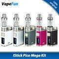 Original eleaf istick kit mega 80 w tc pico com 4 ml melo 3 tanque Atomizador & Pico Mega Caixa Vape Mod N ° 18650 Da Bateria E cigarro