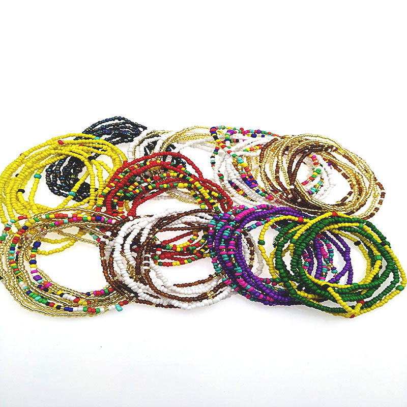 Body-Chains Bead Jewelry Elastic-Waist Fashion for At Double-Row Bohemian-Style Summer