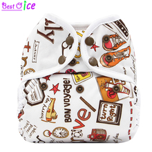 [Bestoice]1PC Double Row snap  Diaper Cover with white piping and  Double leg gusset reusable waterproof,fit 3-15kgs baby