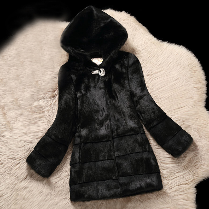 Plus Size Hooded Natural Rabbit Fur Coats Outerwear Women Real Fur Jackets 2019 New Autumn Winter Top Collection Jacket Ksr443