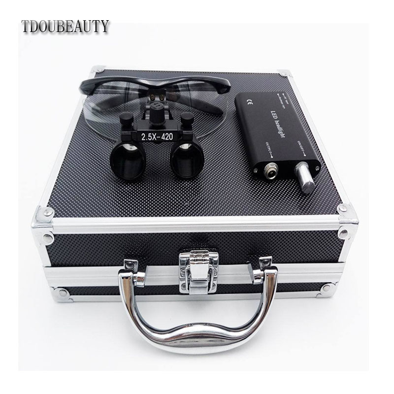 TDOUBEAUTY New 2.5x 420mm Surgical Binocular Loupes +Head Light Lamp +Aluminum Box(Black) Free ShippingTDOUBEAUTY New 2.5x 420mm Surgical Binocular Loupes +Head Light Lamp +Aluminum Box(Black) Free Shipping