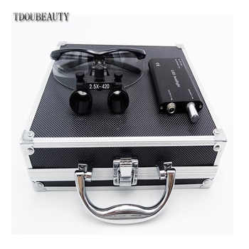 TDOUBEAUTY New 2.5x 420mm Surgical Binocular Loupes +Head Light Lamp +Aluminum Box(Black) Free Shipping - DISCOUNT ITEM  0% OFF All Category
