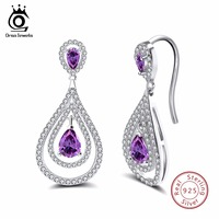 ORSA JEWELS Real Sterling Silver 925 Women Earrings Water Drop Purple With Clear CZ Long Romantic
