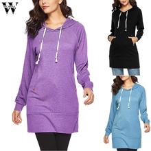 Womail kobiety z długim rękawem solidna tuniki bluza z kieszenią bluza z kapturem bluza bluzki bluzki jesień kobiety śliczne sportowe damskie bluza tanie tanio Poliester Swetry 210g Paski Na co dzień REGULAR Batik Pełna Sweatshirt S-XL Black Blue Purple ladies sweatshirt dresses