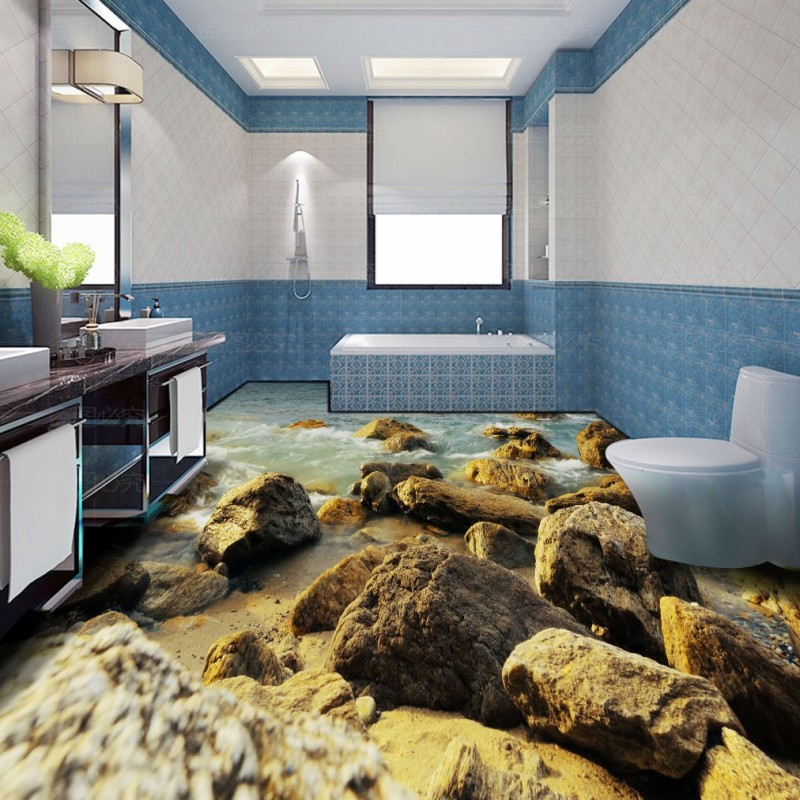 Free Shipping custom HD stone spray 3D bathroom floor wallpaper self-adhesive shopping mall square bar flooring mural