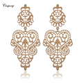 Yhpup Fashion Vintage Metal Hollow Earrings Cutout Big Dangle Party Holiday Gold Earrings For Women