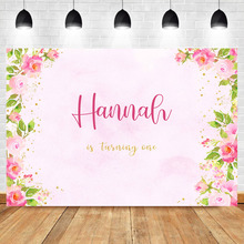 NeoBack Pink Flower Macrame First Birthday Party Photo Background Baby Shower Nowborn Custom Photography Backdrops