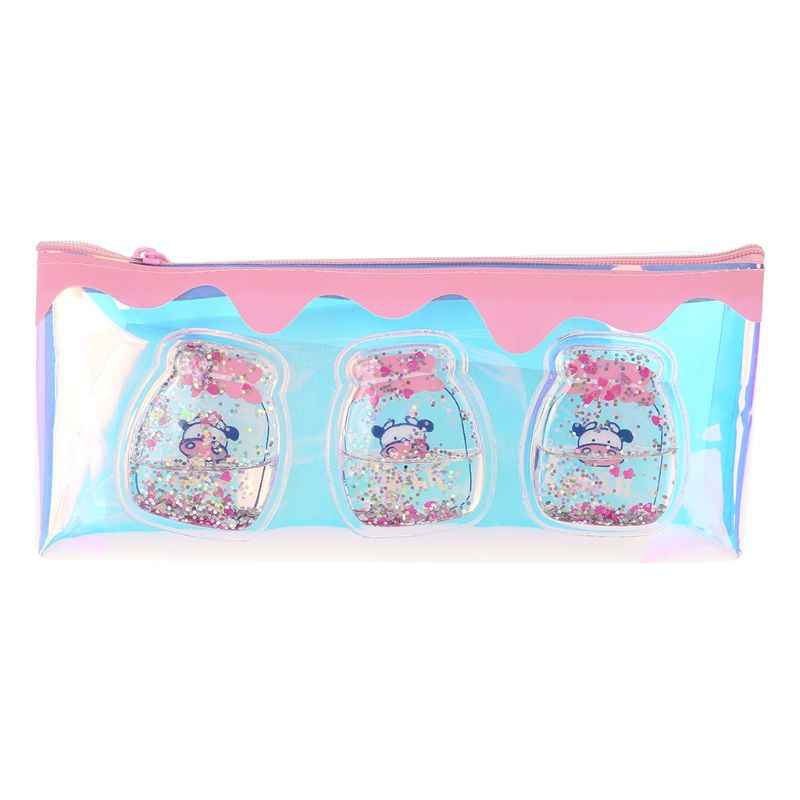 Kawaii Laser Milk Bottle Pencil Case Iridescent Transparent Cosmetic Makeup Bag Pouch School Supplies Stationery Gift