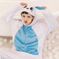 Girls Animal Cute Blue Rabbit Onesie Winter Soft Flannel Long Sleeves Sleepwear Adult Hooded Pijamas Cartoon