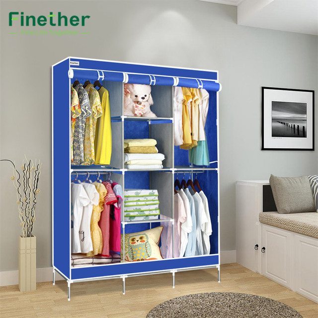 Finether Double Modular Metal Framed Fabric Wardrobe Clothes Closet  Portable Wardrobe Clothes Storage Organizer Hang Simple