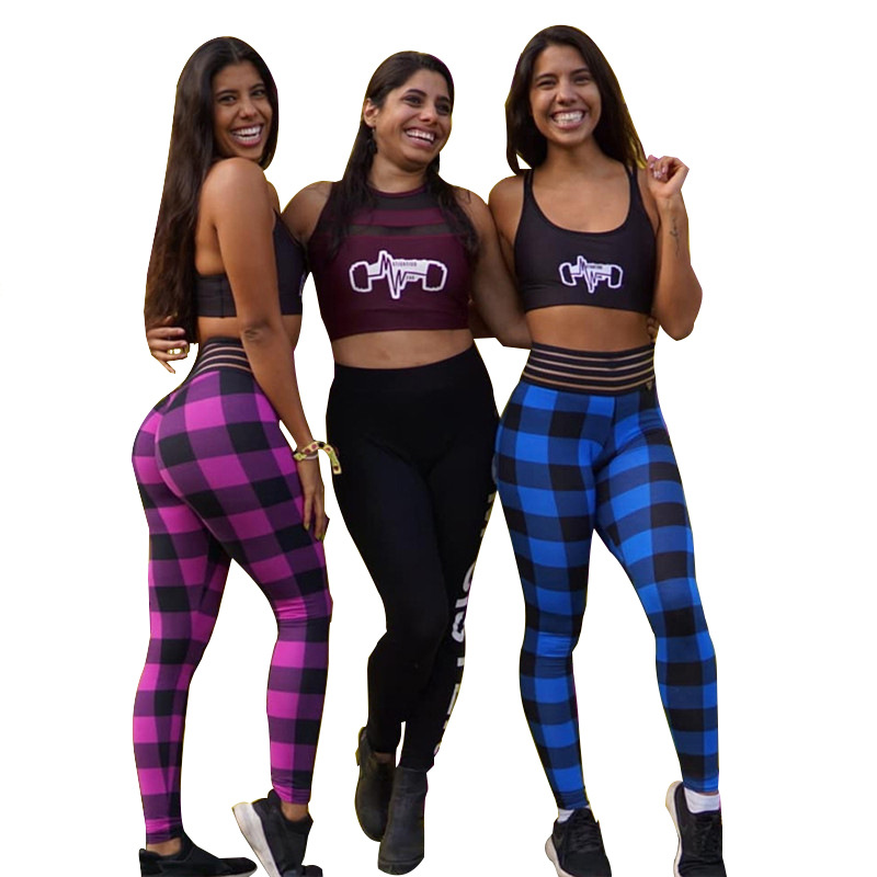 new Europe style hot sale pants slim woman leggings ankle Length plaid casual comfortable elastic female leggings holiday in Leggings from Women 39 s Clothing