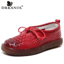 DRKANOL New Genuine Leather Women Flat Shoes Round Toe Hollow Soft Oxford Shoes For Women Loafers Flats Summer Casual Shoes цена в Москве и Питере