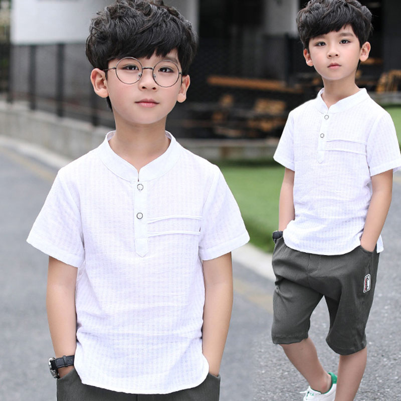 2 pcs summer set solid cotton linen kids t shirts for boys shorts sets boys clothes children cool clothing sports suits for boy summer kids clothes sport sets for girls sea short sleeve t shirts denim shorts children korea style cotton clothing suits