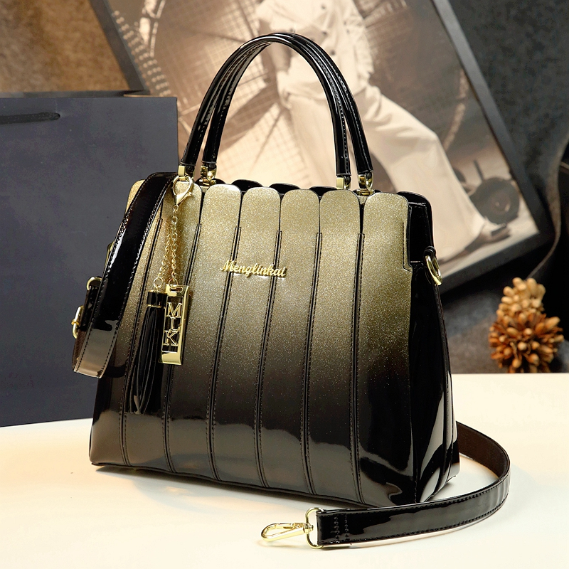 ICEV 2019 Newest Women Leather Handbags Designer High Quality Patent Leather Clutch Boston Tote Top Handle Bags Ladies Business