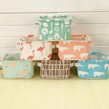 Cesta de almacenamiento de escritorio de lino de algodón caja de almacenamiento variada pequeña Linda cesta de almacenamiento de mesa organizador de bolsas de ahorro de espacio