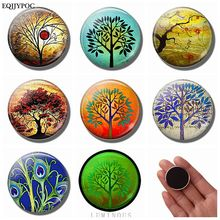 7 PCS 25 MM Tree of Life Magnet Fridge Glass Dome Removable Art Luminous Magnetic Stickers for Refrigerator for Home Decoration