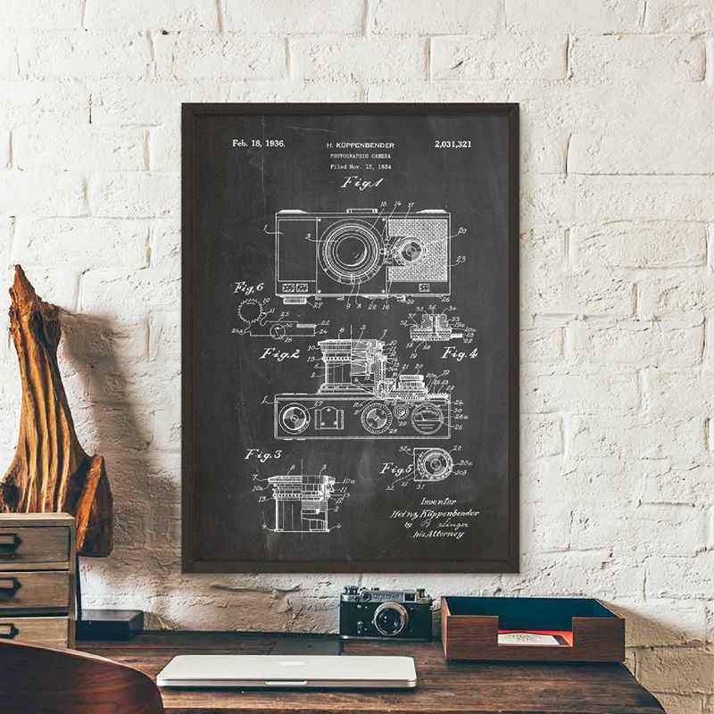 Camera Patent Vintage Poster Canvas Art prints , Retro Camera Blueprint Photo Wall Art Canvas Painting Photography Decoration