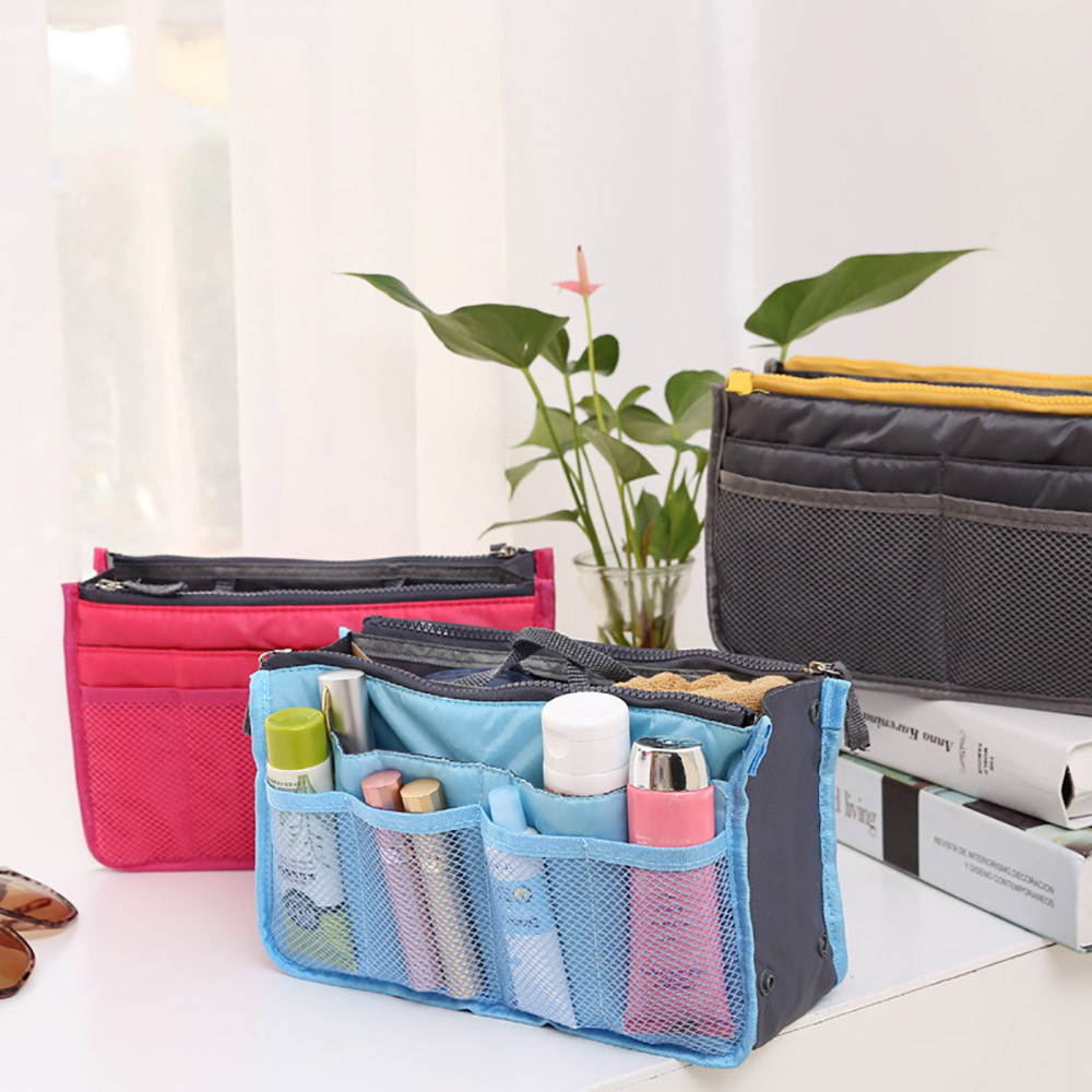 Bag Handbag Organizer Storage-Bag Women Cosmetic Double-Zipper Portable Neceser Multi-Pockets