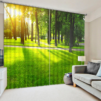 European Style Customize Buyer Size Green Forest Scenery Bedding Room 3D Curtains