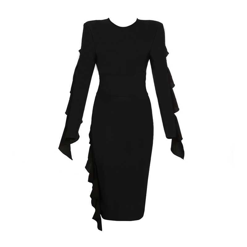 INDRESSME 2019, зимнее новое женское сексуальное Бандажное платье, черное с длинным рукавом и круглым вырезом, каскадные оборки, вечерние, клубные платья, модные, хит продаж