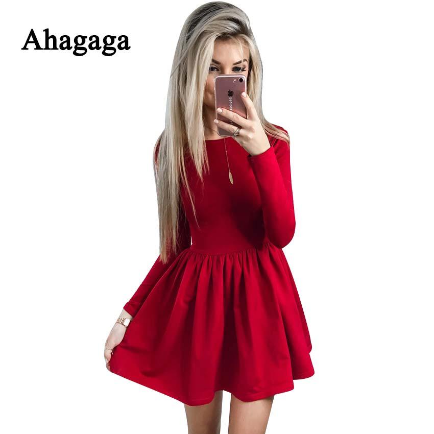 Ahagaga 2019 printemps robe femmes mode solide rouge noir o-cou élégant Sexy Club décontracté mignon a-ligne robe femmes robes Vestidos