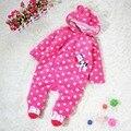 Розовый узор в горошек ползунки зима комбинезон для девочки Footsies дети комбинезон закрытый воротник младенцы новорожденные младенцы - одежда детская - одежда