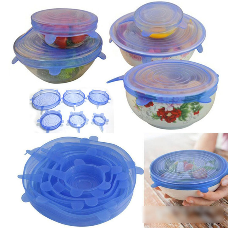 6 Pcs Silicone Reusable Food Fresh Keeping Sealing Stretch Lid Container Cover Kitchen Pan Spill Lid Stopper Cover (13)