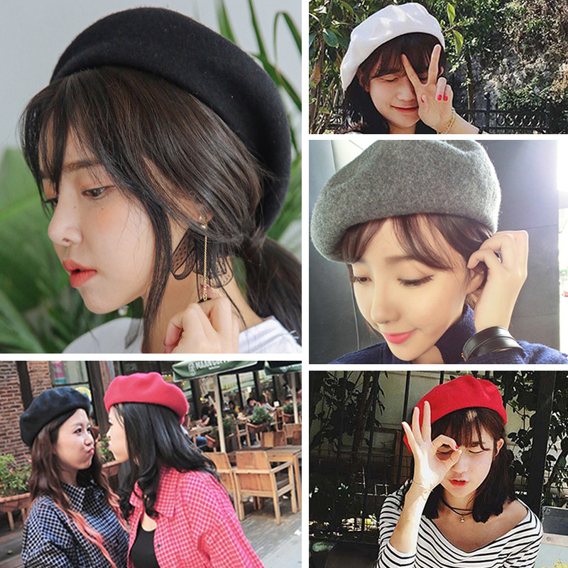 Womens winter Hat Beret Female Wool Cotton blend Cap Autumn 2017 Brand New Woman Hats Caps black white gray pink boinas de mujer