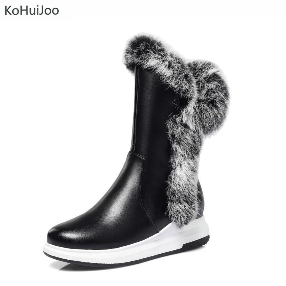 KoHuiJoo Big Size Winter Waterproof Snow Boots Women Black White Real Rabbit Fur Boots Ladies Zipper Work Shoes Warm Flat Shoes цена