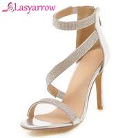 Lasyarrow High Heels Summer Shoes Sandals Women Ankle Strap Open Toe Gladiator Crystal Heels Sandals Gold Silver Size34 43 RM474