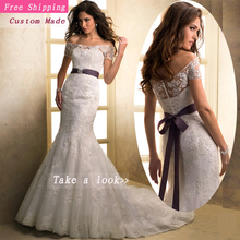 Free Shipping Ivory/White Sweetheart Bow Sash Lace Up Strapless Sleeveless Custom Wedding Dress Mermaid Bride Gowns MH14