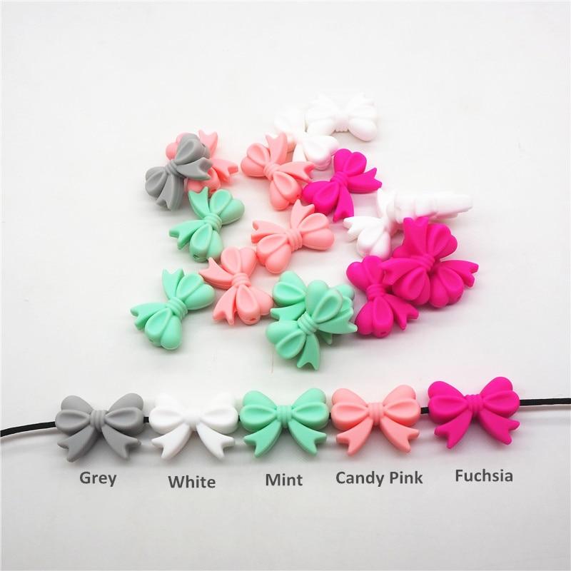 Chenkai 10pcs BPA Free Silicone Bow Tie Teether Beads DIY Baby Shower Teething Montessori Sensory Toy Bow-Knot Accessories цена и фото