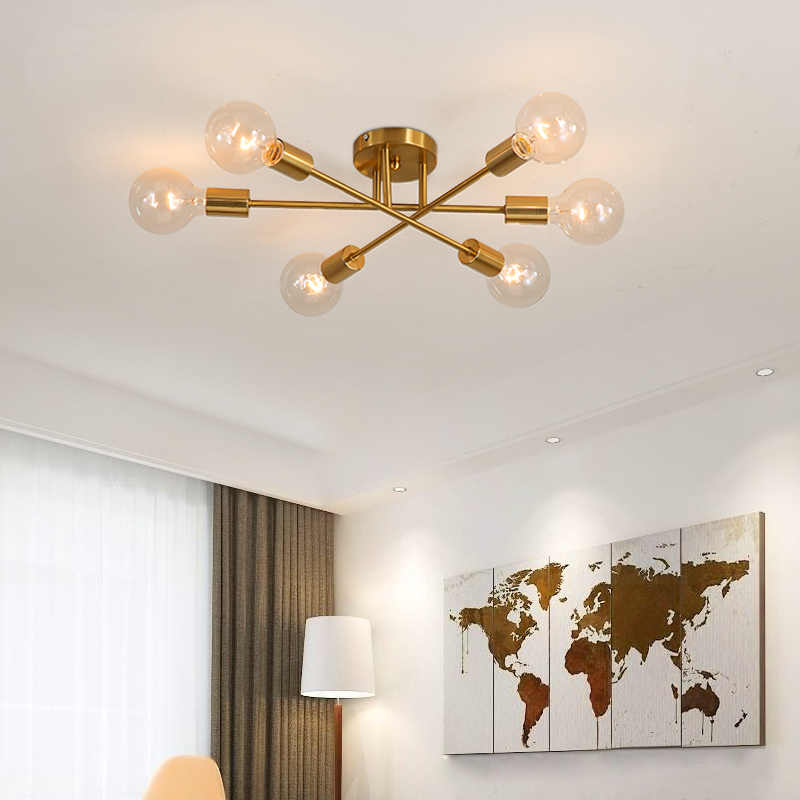Sanbugm Nordic Besi Modern Sputnik Lampu Gantung Golden Lampu Langit-langit Satelit Lampu Dekorasi Rumah Perlengkapan Pencahayaan