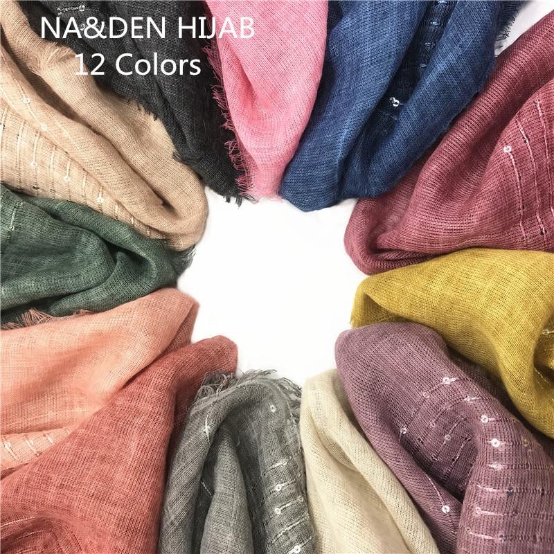 1PCS Hot Sale Solid Small Sequins Women Scarves Tassels Fashion Viscose Muslim Hijab Elegant Lady Soft 1pcs/lot Fast Shipping