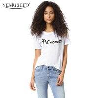 H842 2016 New Design Casual T Shirt Women Harajuku Short Sleeve T Shirt PRINCESS Printed Best