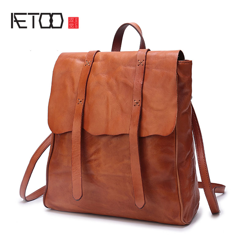 AETOO 2017 new Japanese original handmade men and women backpack first layer leather shoulder bag leather large capacity travel aetoo spring and summer new leather handmade handmade first layer of planted tanned leather retro bag backpack bag