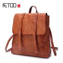 AETOO 2017 new Japanese original handmade men and women backpack first layer leather shoulder bag leather large capacity travel все цены
